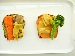 open tehini sandwich with roasted vegetables | by The Royal Excursion
