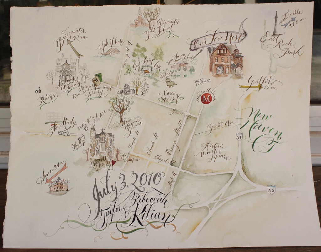 New Haven Wedding Map This was a large watercolor map comm Flickr