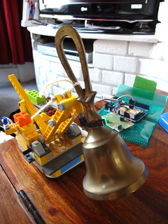 Prototype doorbell with brass bell | by lilspikey