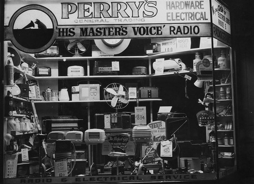 hmv goods on display in Australia - Perry's General Trading - unknown location 1940s