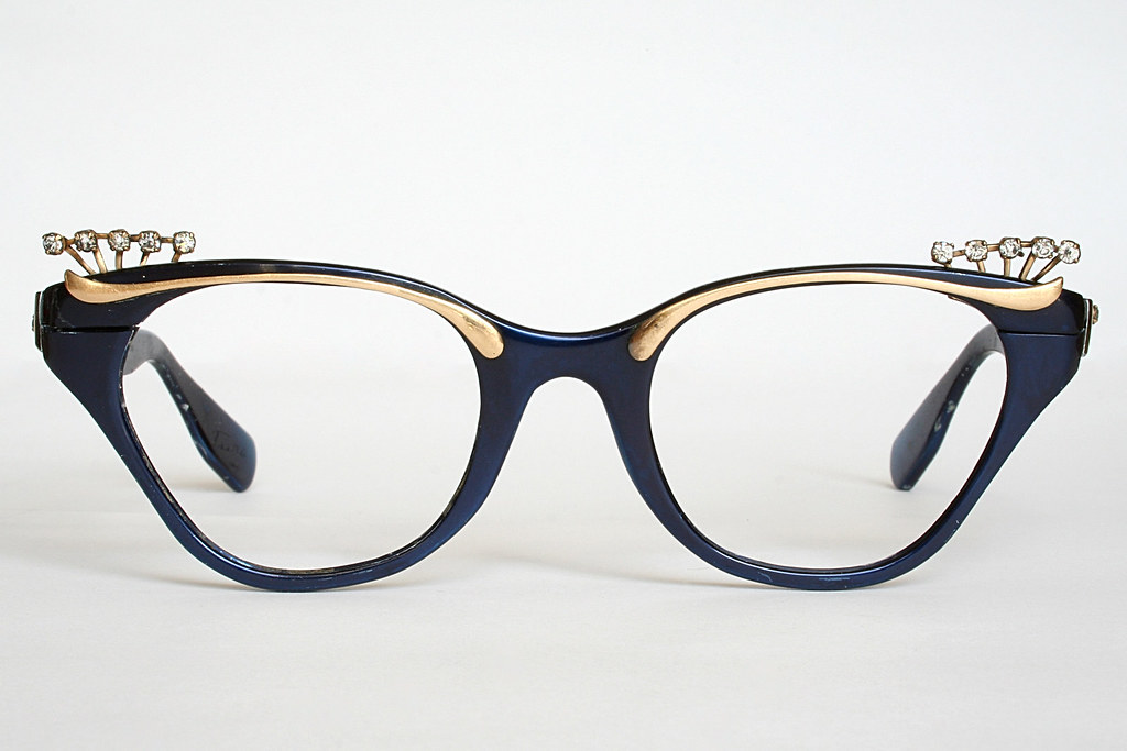 Royal Blue and Gold Cat Eye Glasses Frames with Rhinestone… | Flickr