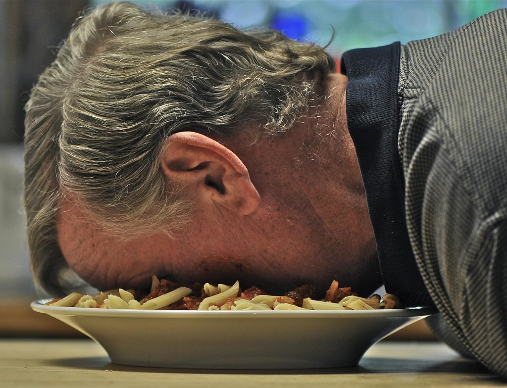 Face down in a platter of pasta it s tuesday so you know