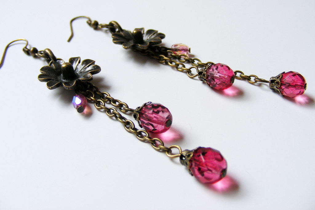 Blooming Earrings Fuchsia Made By Taking Apart Hideous D Flickr