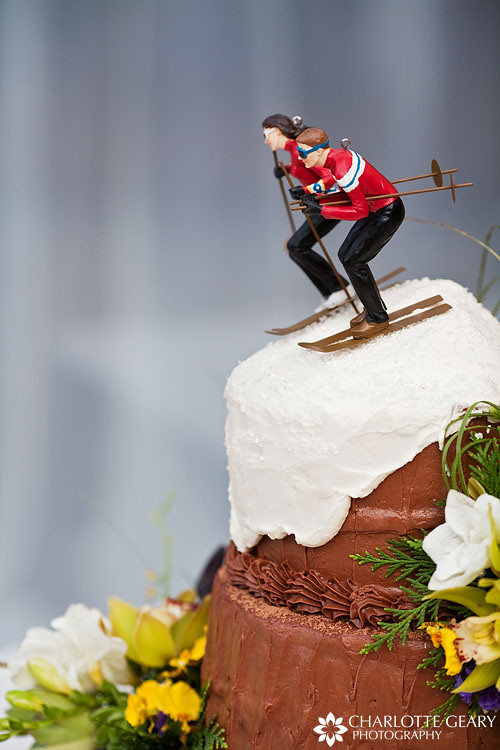 Wedding Cake With Ski Topper