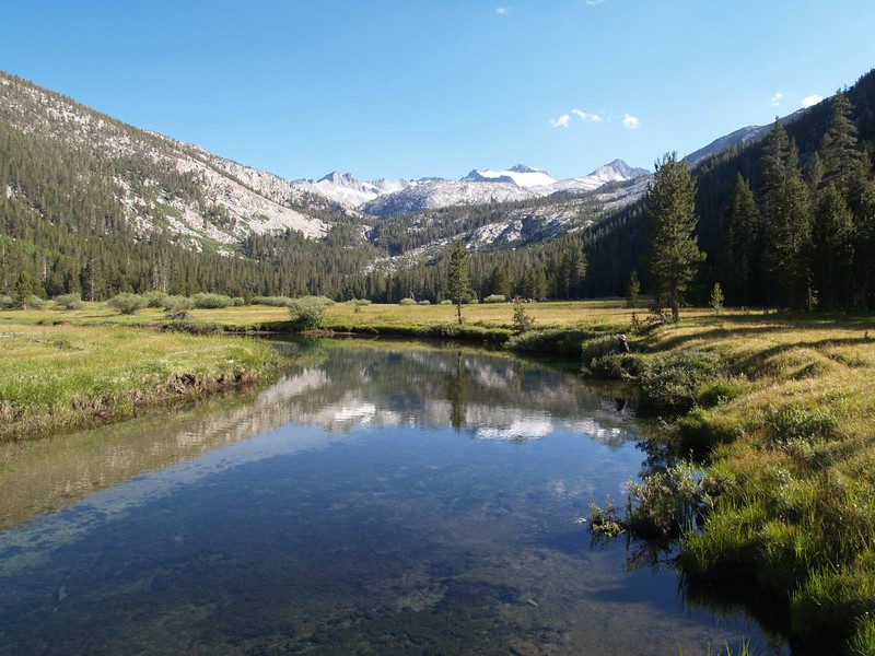 Mellow, meandering North Fork of the Tuolumne River with Mount Lyell and Mount Maclure in the distance