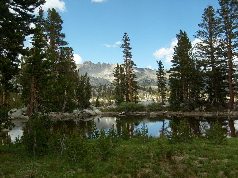 Looking northwest toward Donohue Peak from a small lake on Rush Creek as we ascend the Marie Lakes Trail
