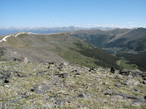 Sawatch Range, ridges, and lakes from near Fitzpatrick Peak, San Isabel National Forest, Colorado