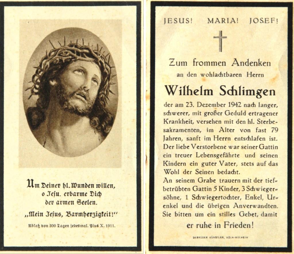 Totenzettel Schlimgen, Wilhelm † 23.12.1942