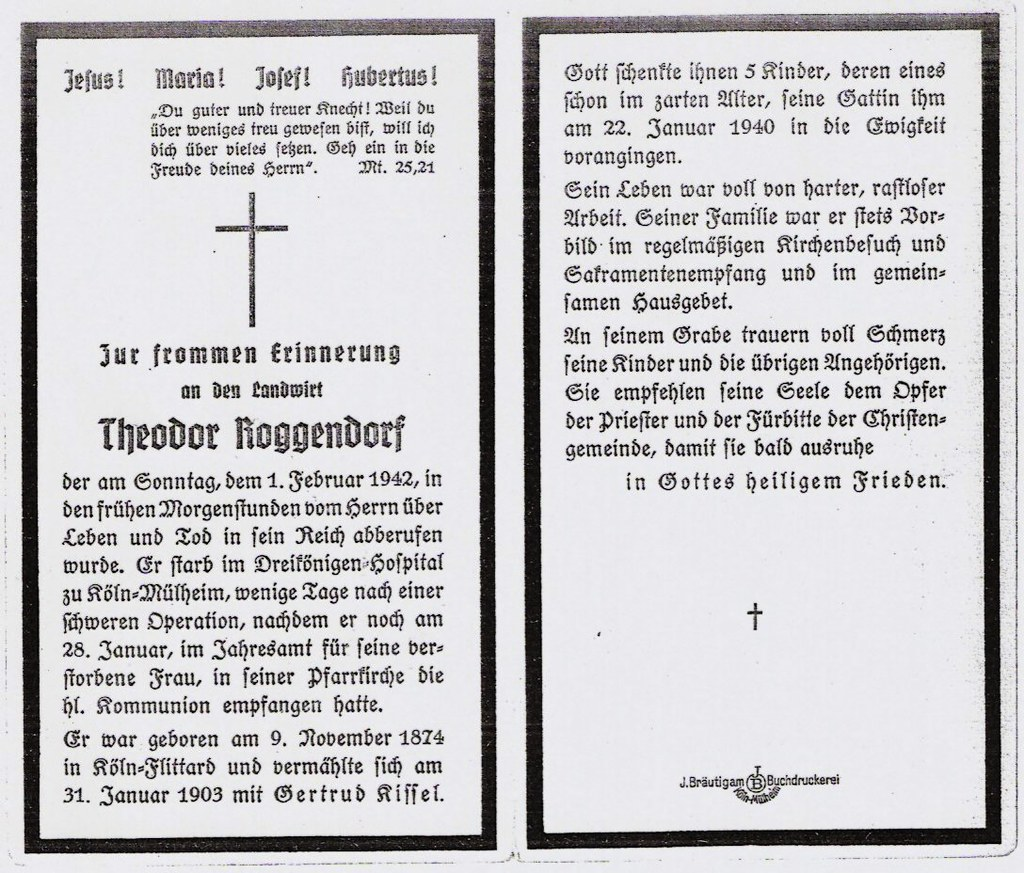 Totenzettel Roggendorf, Theodor † 01.02.1942
