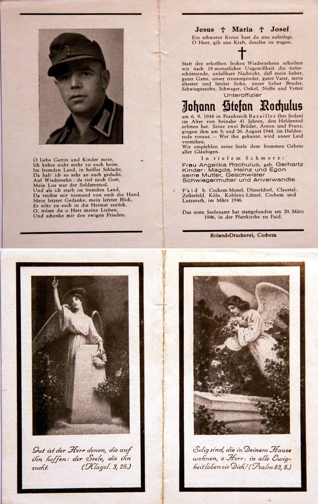 Totenzettel Rochulus, Johann Stefan † 06.09.1944