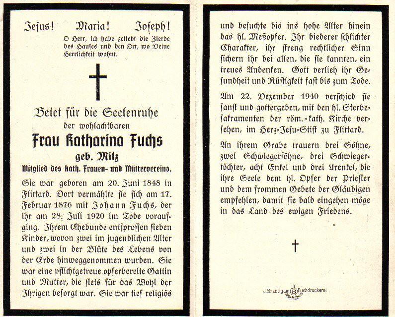 Totenzettel Fuchs, Katharina † 22.12.1940