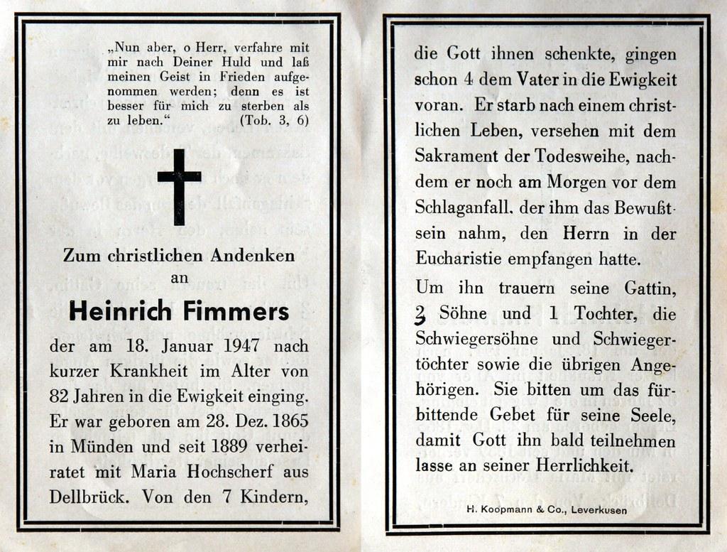 Totenzettel Fimmers, Heinrich † 18.01.1947