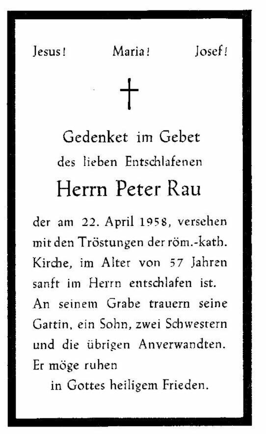 Totenzettel Rau, Peter † 22.04.1958