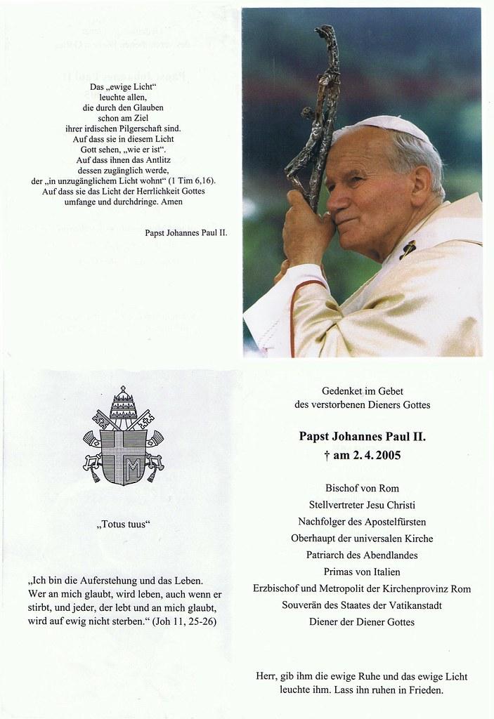 Totenzettel Papst Johannes Paul II † 02.04.2005
