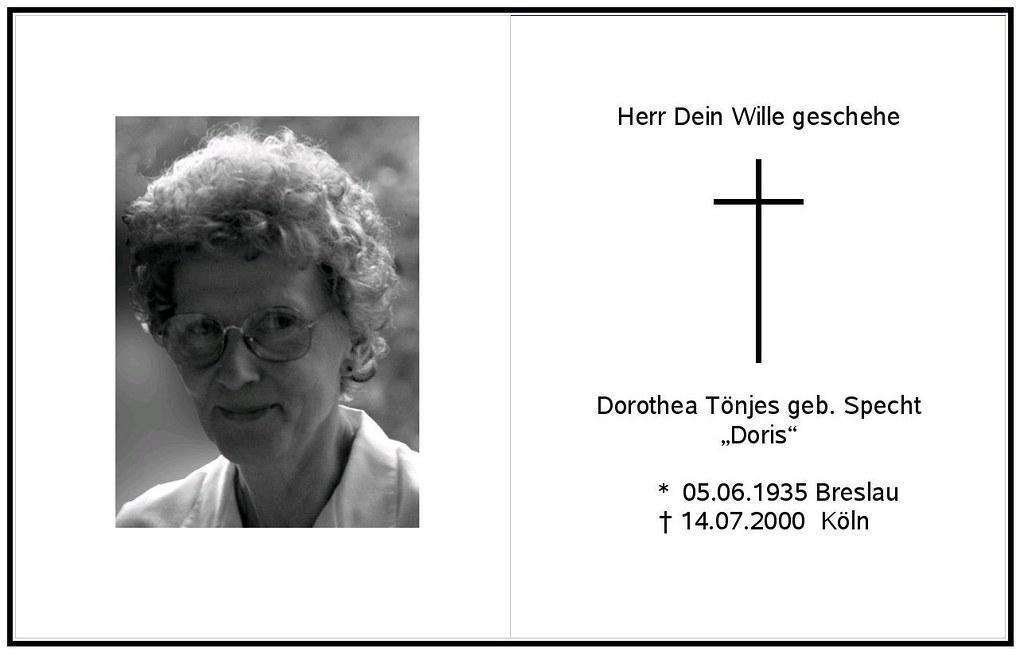 Totenzettel Tönjes, Doris geb. Specht † 14.07.2000