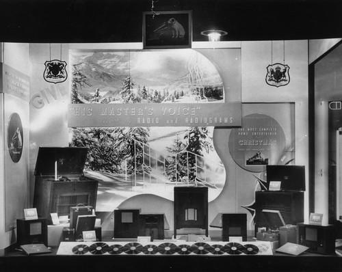 hmv 363 Oxford Street, London - Christmas window display 1928