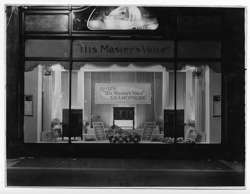 hmv 363 Oxford Street, London - The New 'His Mater's Voice' Gramophone window display 1920s