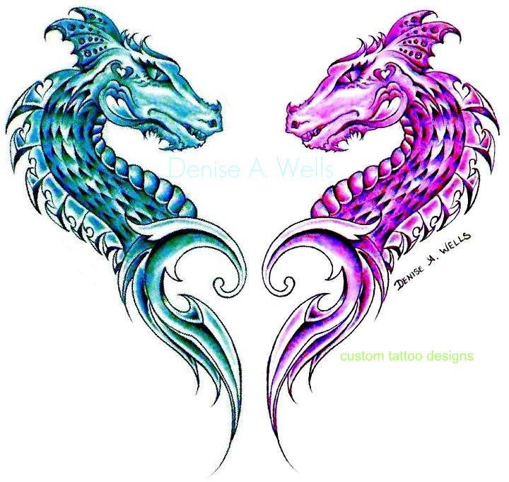 dragonheart tribal tattoo design by denise a wells flickr. Black Bedroom Furniture Sets. Home Design Ideas