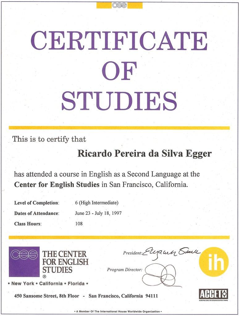 Ces Original En Certificate Of Studies Ricardo Egger Flickr