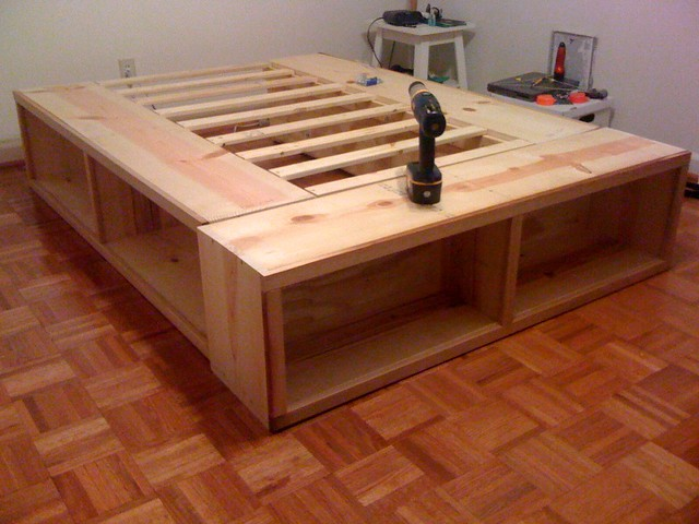 woodworking bed plans with storage