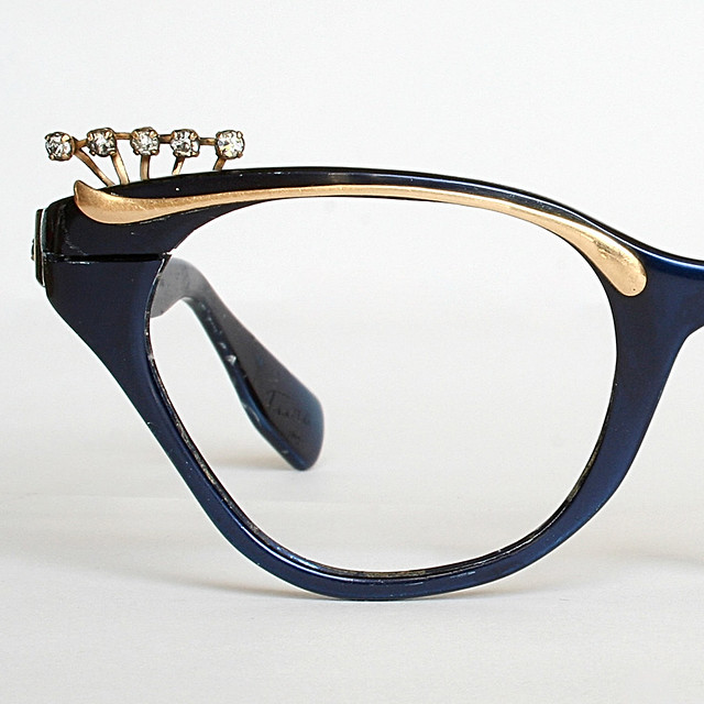 Royal Blue and Gold Cat Eye Glasses Frames with ...
