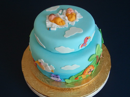 baby shower cake for twins by art cakes