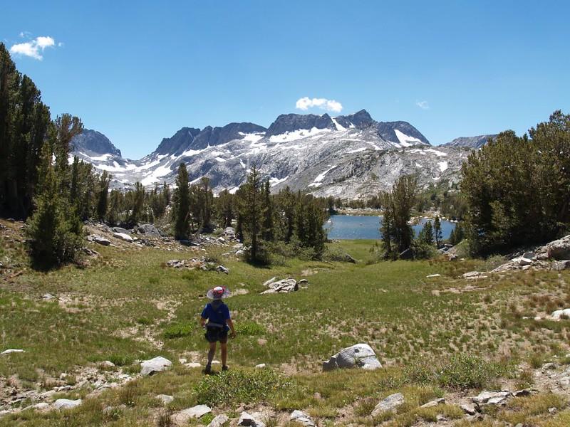 Heading downhill toward a lake on Island Pass