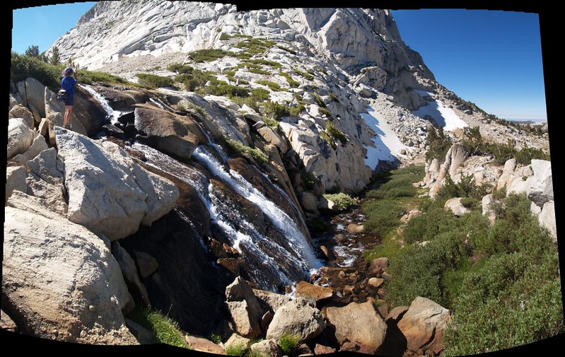 Waterfall panorama of the outflow stream from Townsley Lake