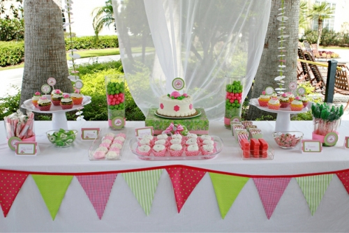 Dessert Table Bunting Pink And Green Dessert Buffet