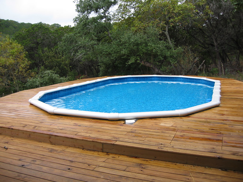 Oval above ground pool with decking bexar county flickr for Oval swimming pool