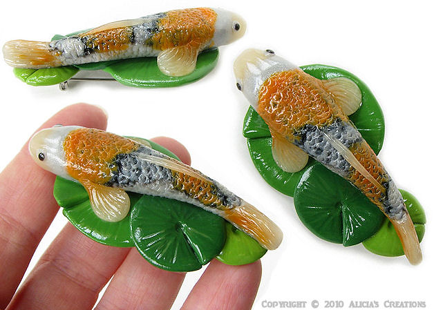 Koi pin hand sculpted from polymer clay i love taking a for Clay koi fish