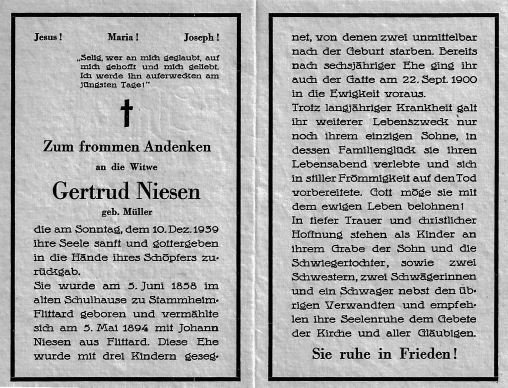 Totenzettel Niesen, Gertrud geb. Müller † 10.12.1939