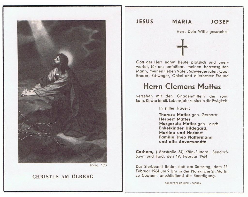 Totenzettel Mattes, Clemens † 19.02.1964