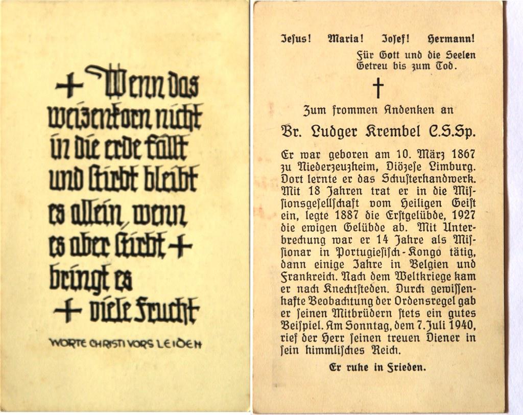 Totenzettel Krembel, Ludger Bruder † 07.07.1940