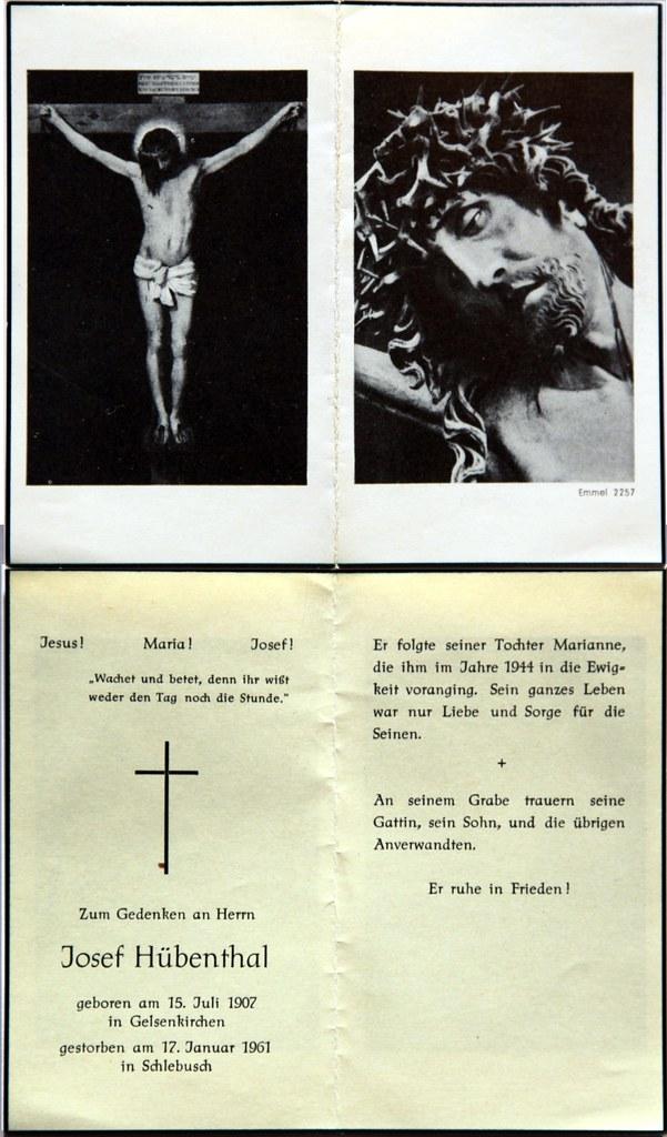 Totenzettel Hübenthal, Josef † 17.01.1961