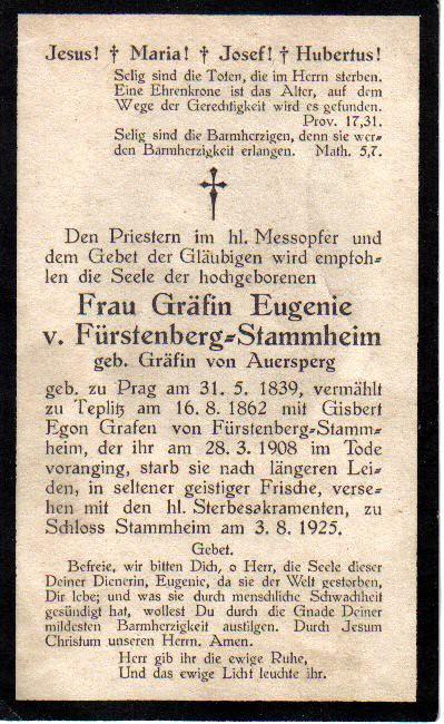 Totenzettel Fürstenberg-Stammheim, Gräfin von † 03.08.1925