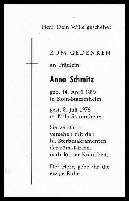 Totenzettel Schmitz, Anna † 08.07.1973
