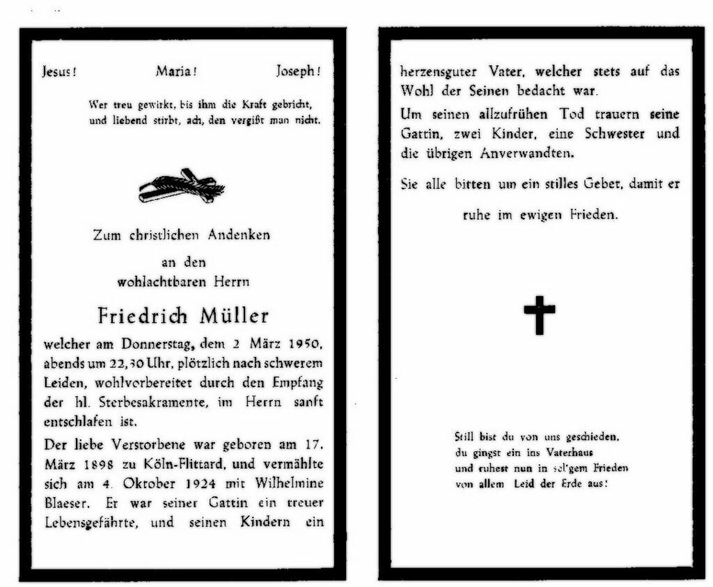 Totenzettel Müller, Friedrich † 02.03.1950