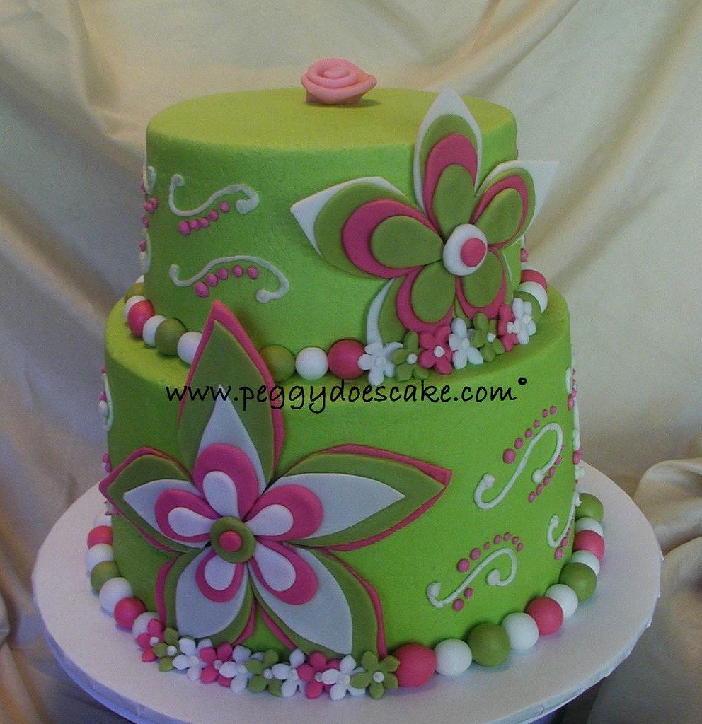 Pink And Lime Green Cake Hilliary Presented Me With An Inv Flickr