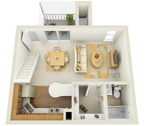 Studio 1st floor townhome 3d floor plan www for 45m2 apartment design