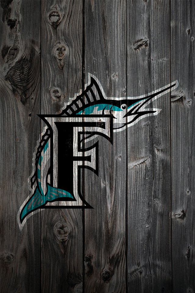Florida Marlins Wood IPhone 4 Background