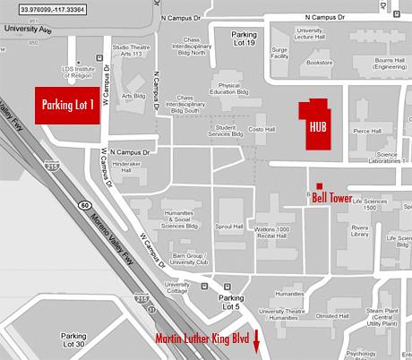 map-parkinglot-hub   UC Riverside Parking Lot 1 to 269 HUB ...