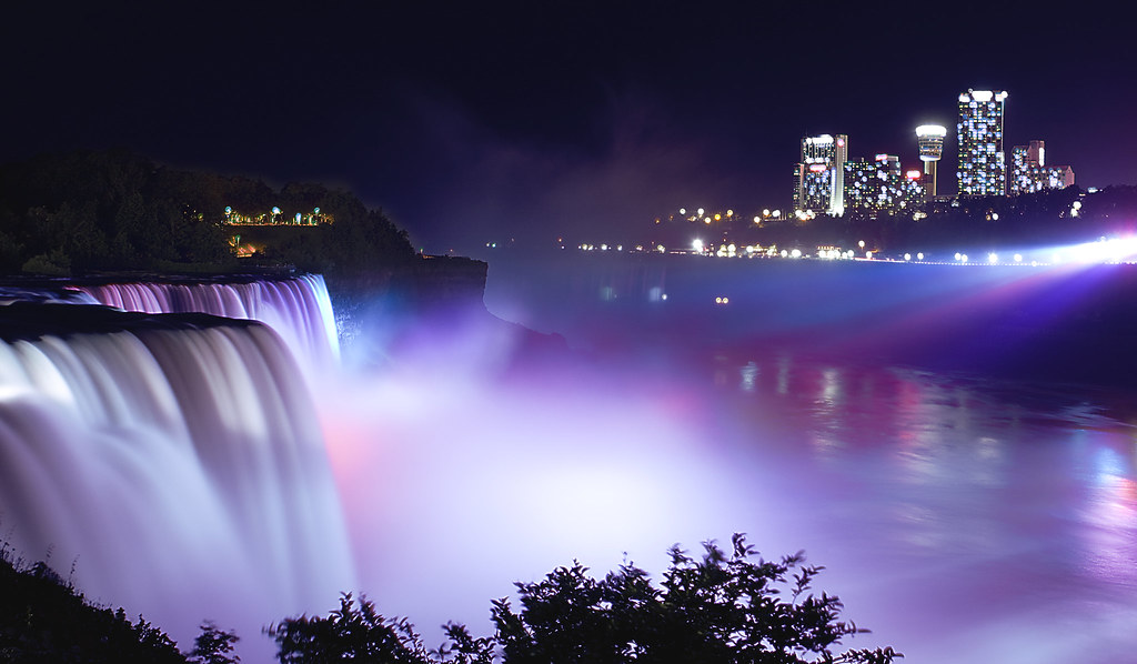 Niagara Falls At Night Long Exposure Shot To Capture