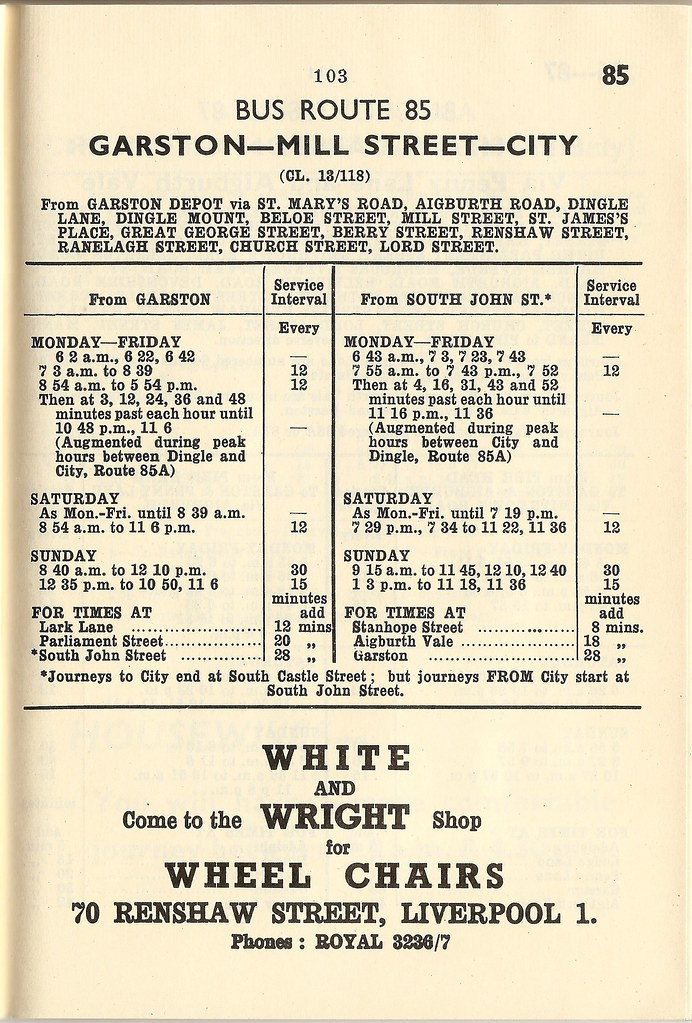 Liverpool cptd timetables may 1954 bus route 85 gars for 85 bus timetable