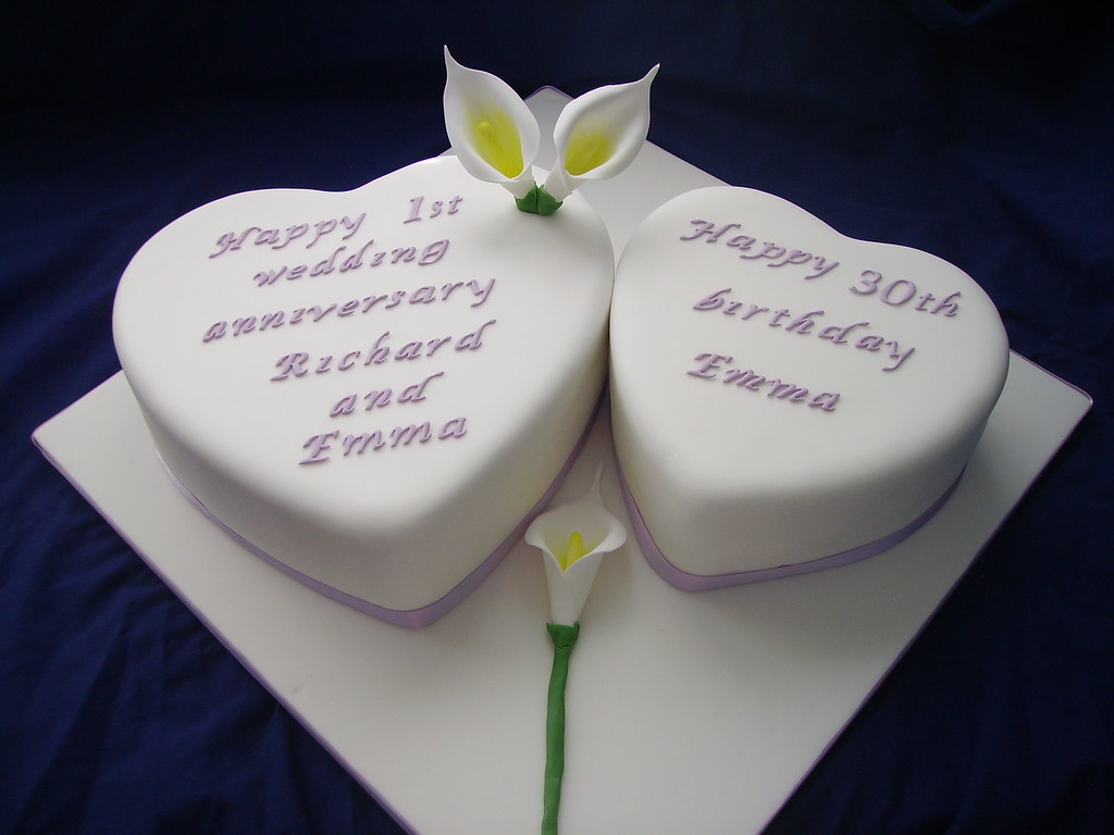 Joint Birthday And Anniversary Cake 10 And 8 Inch Heart Ca Flickr