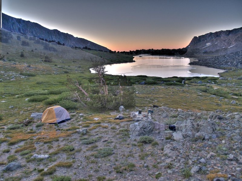 Fancy HDR shot at dawn of our tent at Alger Lakes. Cool photography should always be attempted in the Ansel Adams Wilderness.
