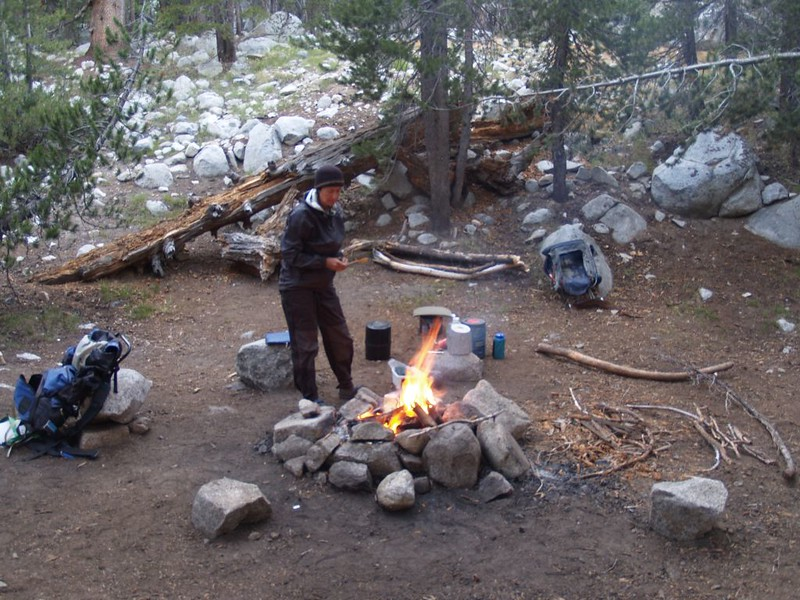Getting ready to eat dinner by our campfire in Lyell Canyon