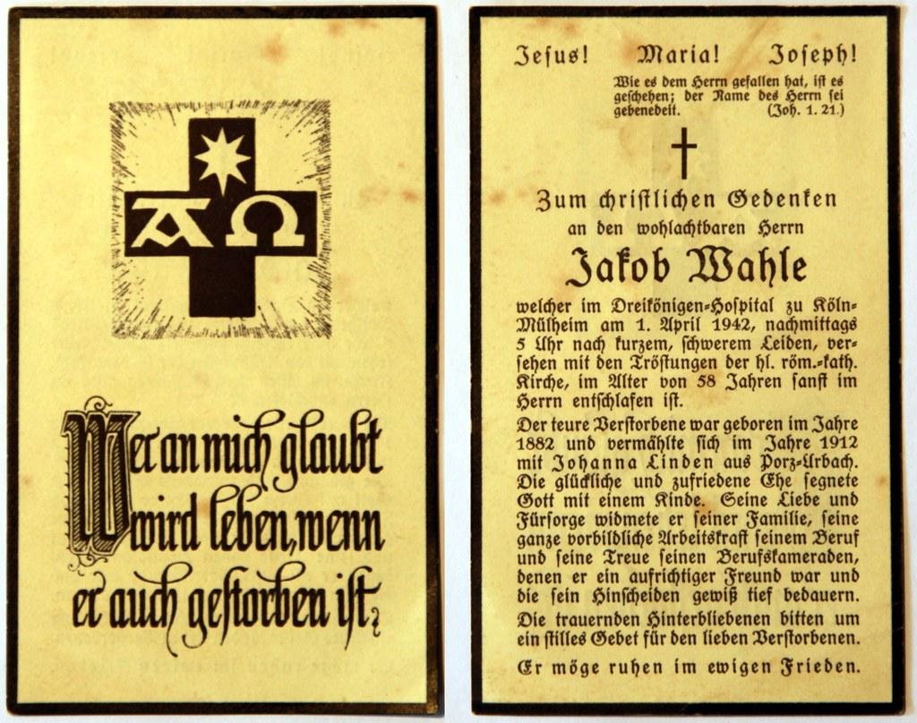 Totenzettel Wahle, Jakob † 01.04.1942