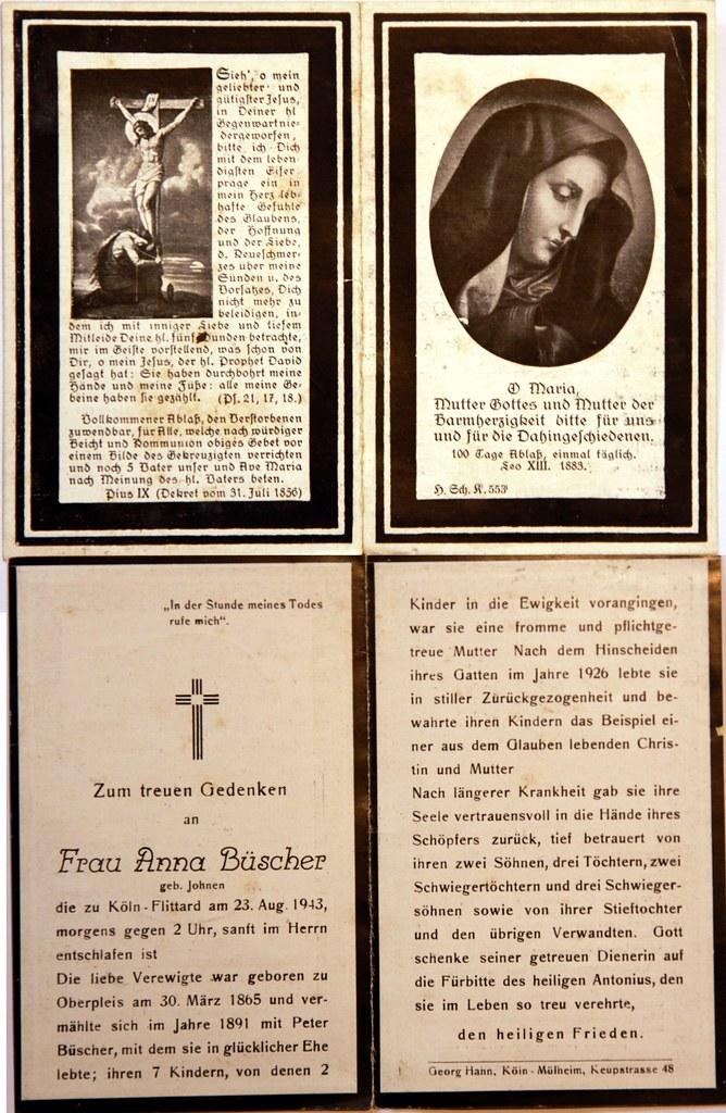 Totenzettel Büscher, Anna † 23.08.1943