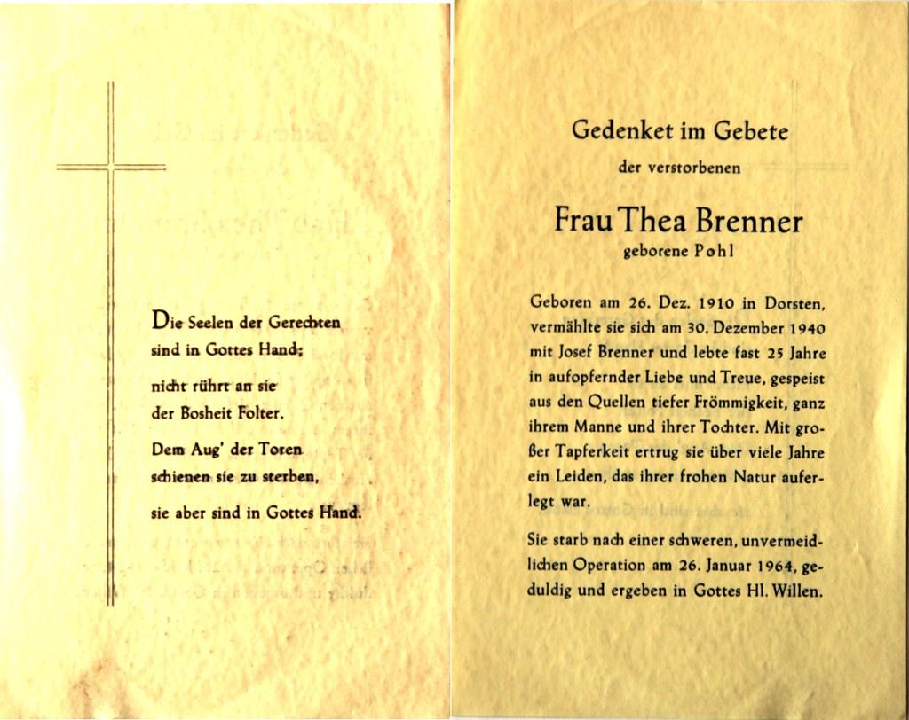 Totenzettel Brenner, Thea † 26.01.1964